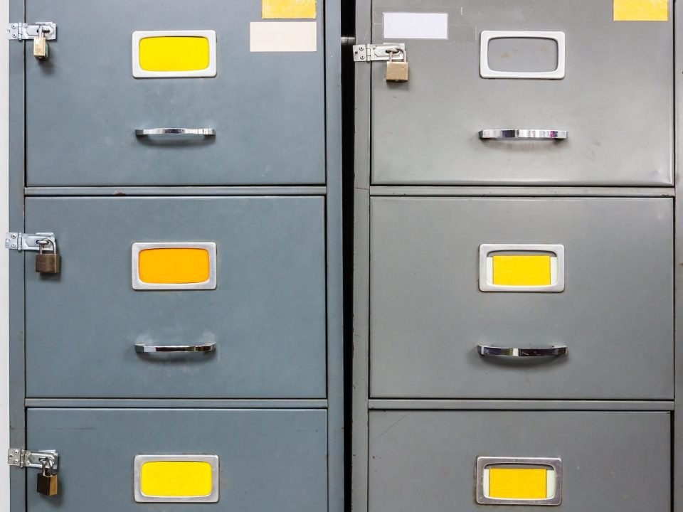 Image of Locked Filing Cabinet for Article of Litigation holds and duty to preserve evidence